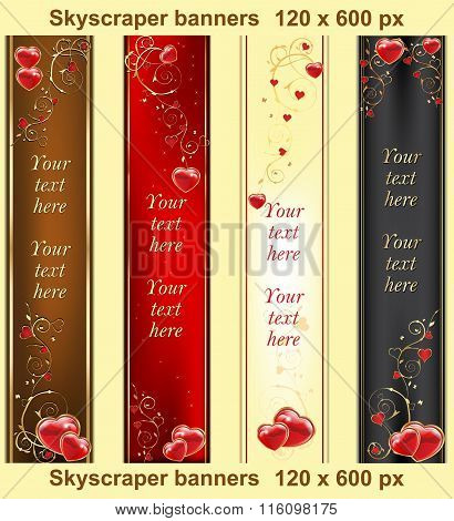 Set of 4 elegant banners with hearts.