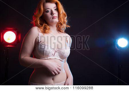 Chubby Sexy Girl In Underwear On Black Background