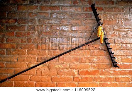 Old brick wall with a rake