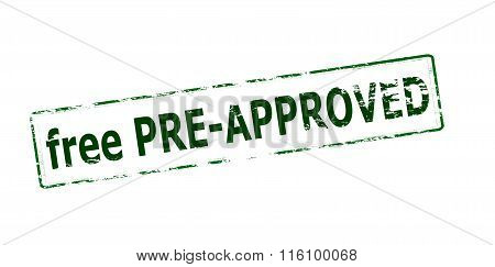 Rubber stamp with text free pre approved inside vector illustration