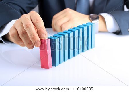 Planning, Risk And Strategy In Business, Businessman  Pushing  Wooden Block