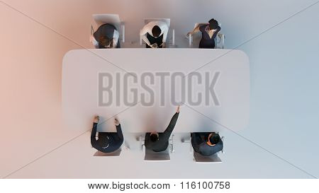 human character, person at conference table . 3d render