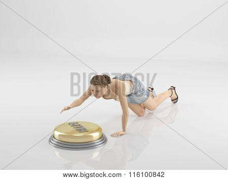 A woman is pushing the button