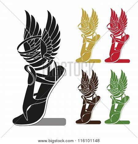 Silhouette Running Shoe With Wings. Symbol Of Trade. Profit Or Sport. Template To Icon, Logo.