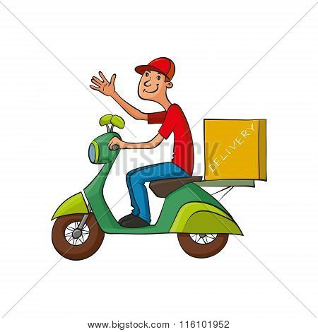 Courier Rides On Scooter
