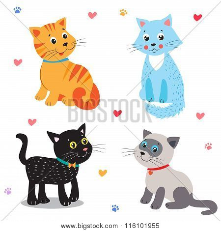 Cute Little Cats. Vector Illustration. Set On A White Background. Angora. Siamese. Mascot. Cat Ears. Cats Meowing. Cats Meme. Beautiful Cats. Domestic Cats. Cats For Sale. Cats Claw. Cats As Toys.