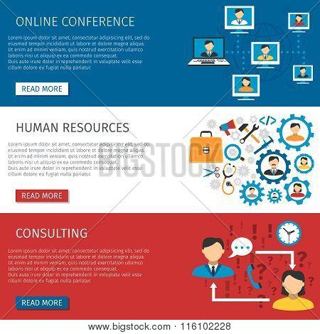Human Resources Management Flat Banners Set