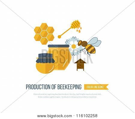 Illustration with icons of products beekeeping
