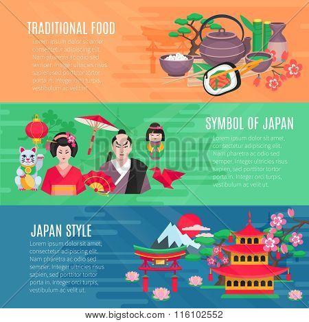 Japanese Life Style  Horizontal Banners Set