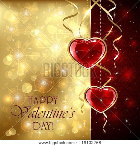 Valentines Hearts On Golden Background