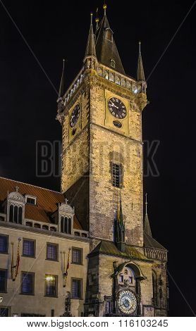 Old Town City Hall At Night, Prague