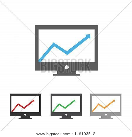 Computer display with rising arrow