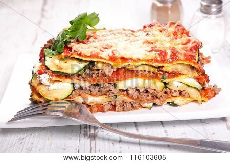 beef and courgette lasagna