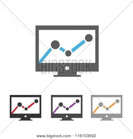 Computer screen with chart icon