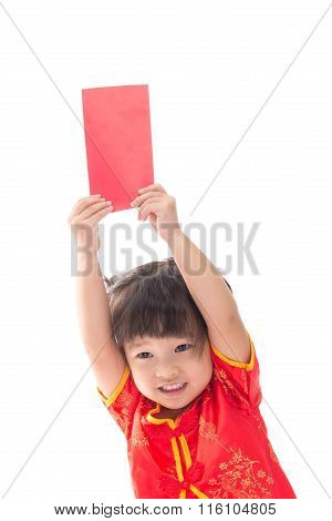Cute Asian Baby Girl In Traditional Chinese Suit With Red Pocket, Isolated On White Background