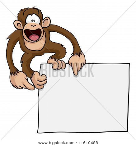 Crazy Cute Monkey Sign Illustration