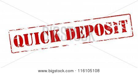 Rubber stamp with text quick deposit inside vector illustration