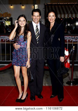 WESTWOOD, CALIFORNIA - October 26, 2010. Mimi Rogers, Chris Ciaffa and daughter Lucy at the Los Angeles premiere of