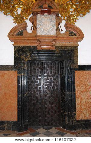 Paterned door in the Mezquita, Cordoba.