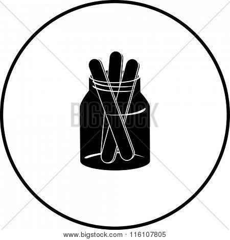 tongue depressors in jar symbol