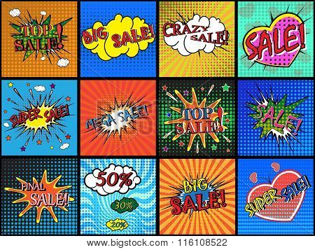Sale. Set of comic sound effects.