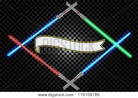 Crossed light swords