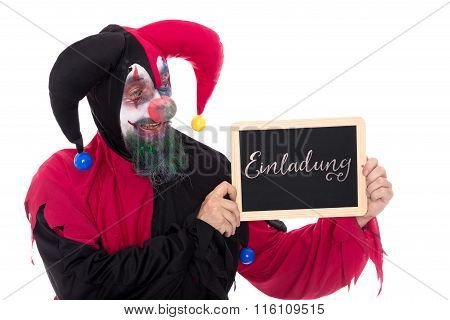 Funny Clown Holding A Slate With German Word For A Invitation