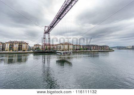 Wide angle of the Bizkaia suspension bridge