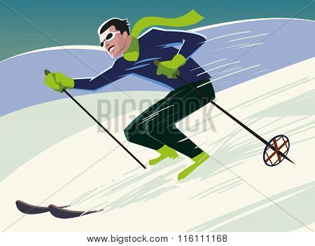 Mountain Skier Slides From The Mountain