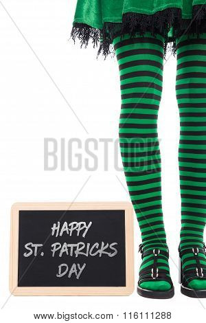 Green And Black Striped Legs From A Leprechaun Girl, Slate With Text Happy St. Patrick´s Day