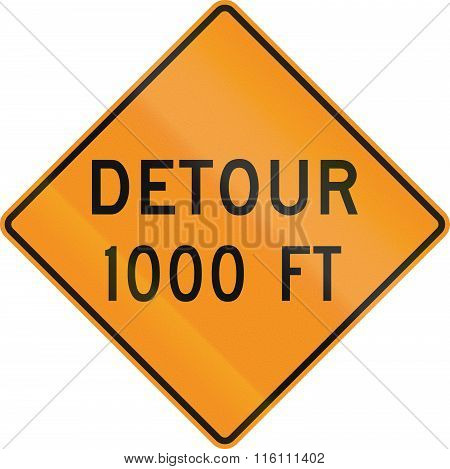 United States Mutcd Road Sign - Detour 1000 Feet