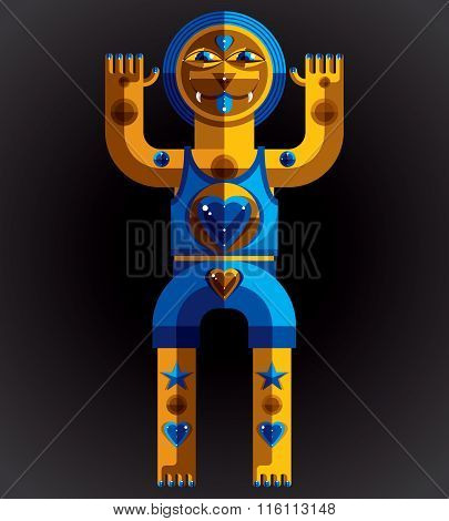 Modernistic Vector Illustration, Geometric Cubism Style Avatar Isolated On Dark Background. Strange