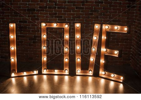 Three-dimensional Letter Love With Glowing Lights
