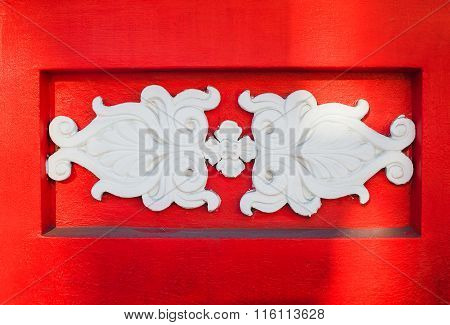 Beautiful White Architectural Relief Pattern On Red Background
