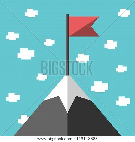 Mountain Peak With Flag