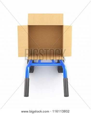Hand Truck With An Open Cardboard Box, Top View Isolated On A White Background