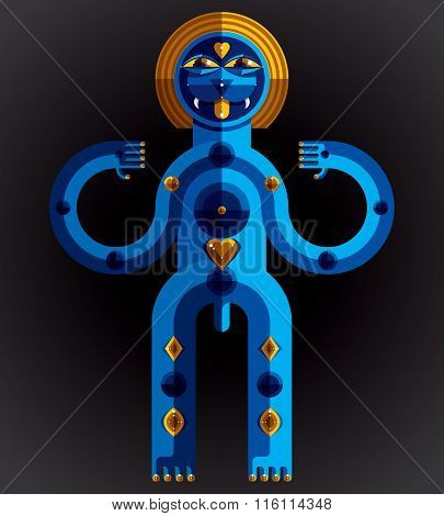 Pagan Symbol Vector Illustration, Spiritual Cult Theme. Modernistic Drawing Of Weird Character. Flat