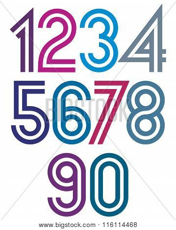 Bright double striped numbers from 0 to 9