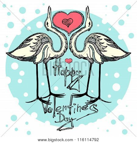 Card valentine's day. Love cranes of Valentine's day