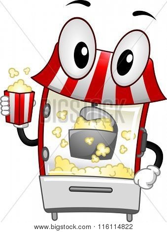 Mascot Illustration of a Popcorn Machine handling a bucket of popcorn