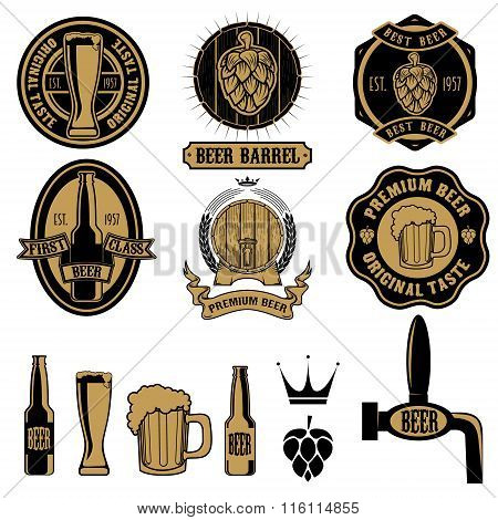 Set Of Beer Labels And Design Elements