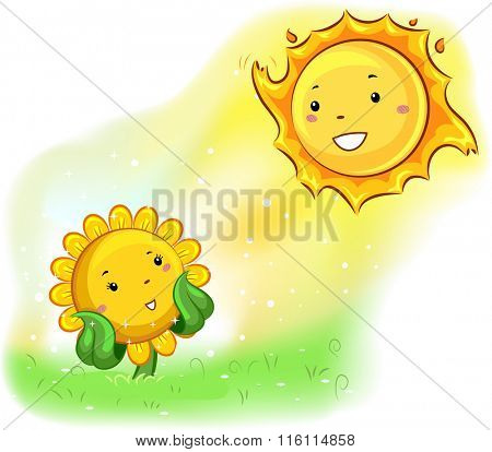 Mascot Illustration of a Sunflower facing the sun