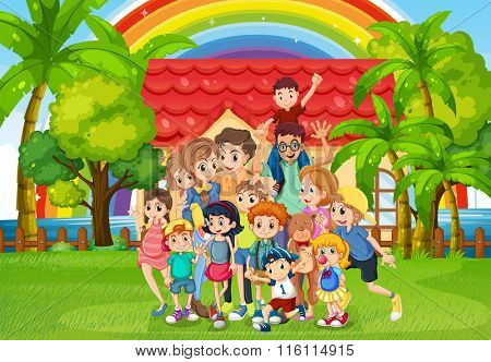 Family members standing in the park illustration