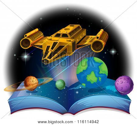 Sciene book with spaceship and solar system illustration