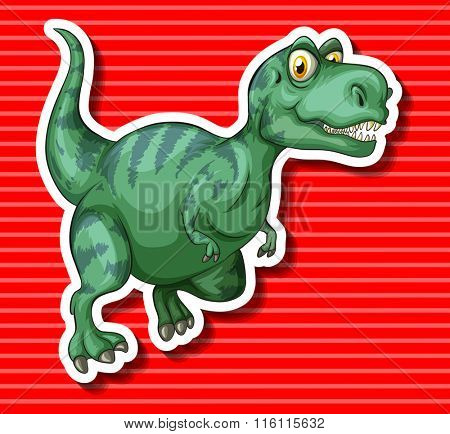 Green T-Rex running alone illustration