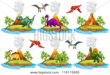 Dinosaurs living on the island illustration