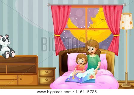 Mother telling bedtime story at night illustration