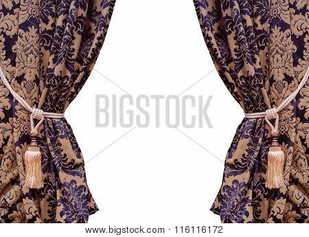 Beautiful Curtains With Tassels Isolated On White Background