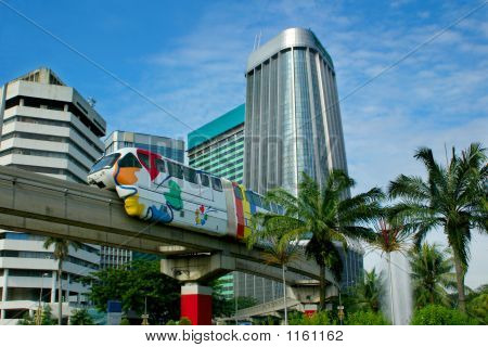 Monorail On Skyscrapers Background