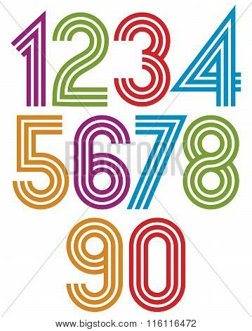 Colorful striped numbers with parallel lines. Numeration from 0 to 9